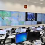 Вид на рабочие места и видеостену в диспетчерском зале ЛТЦ